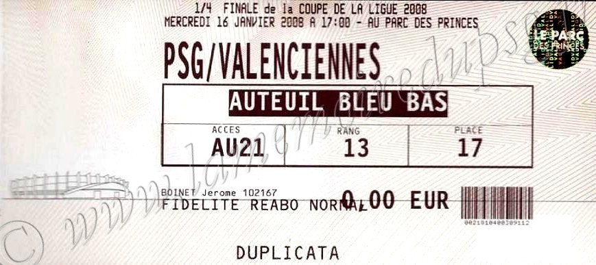 2008-01-16  PSG-Valenciennes (Quart Finale CL)bis