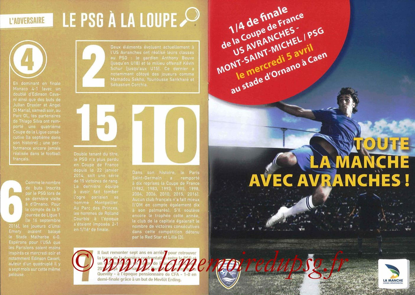 2017-04-05  Avranches-PSG (Quart CF à Caen, Programme officiel) - Pages 06 et 07