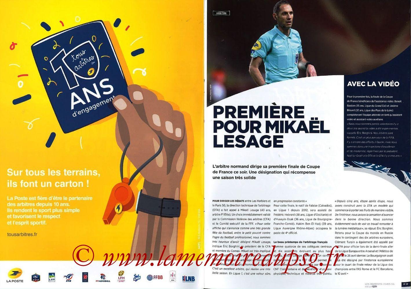 2018-05-08  Les Herbiers-PSG (Finale CF à Saint-Denis, Programme officiel FFF) - Pages 16 et 17