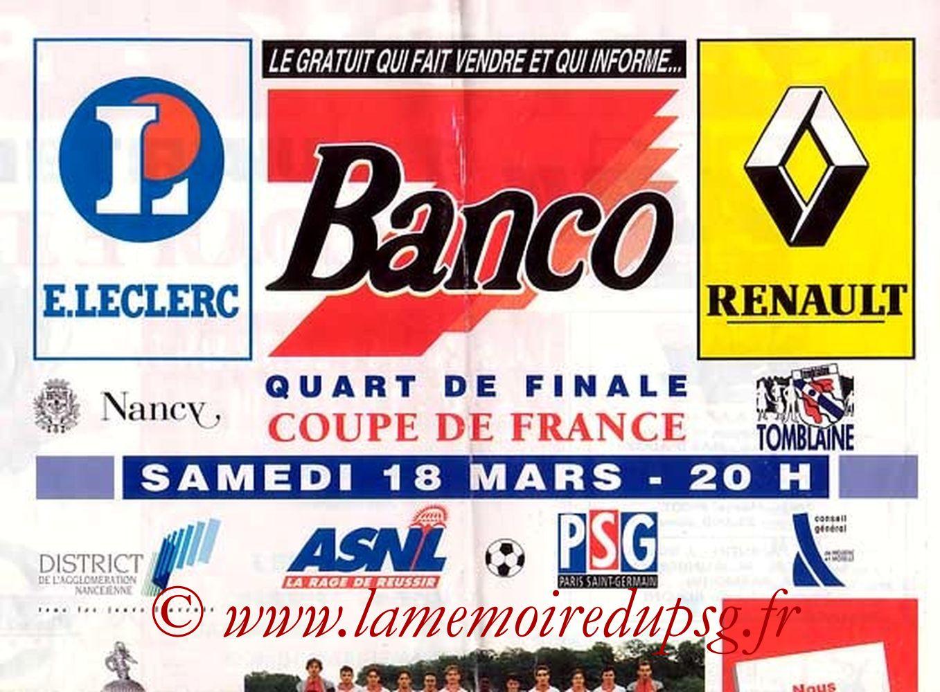 1995-03-18  Nancy-PSG (Quart Finale CF, Banco que je n'ai pas)