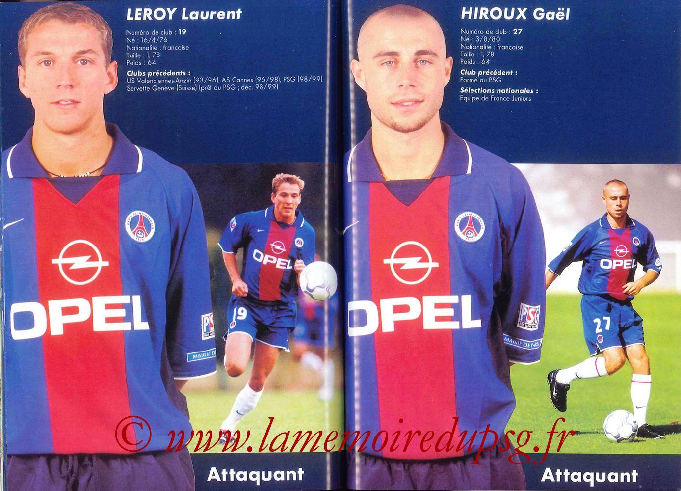 2000-01 - Guide de la Saison PSG - Pages 58 et 59