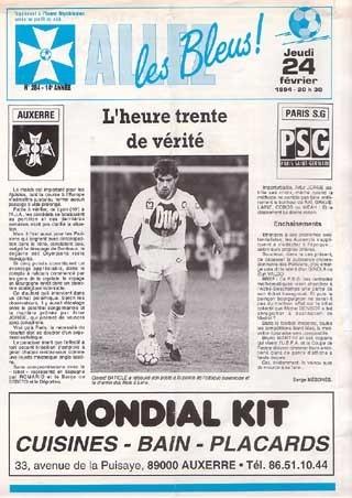 1994-02-24  Auxerre-PSG (28ème D1, Allez les Bleus N°)