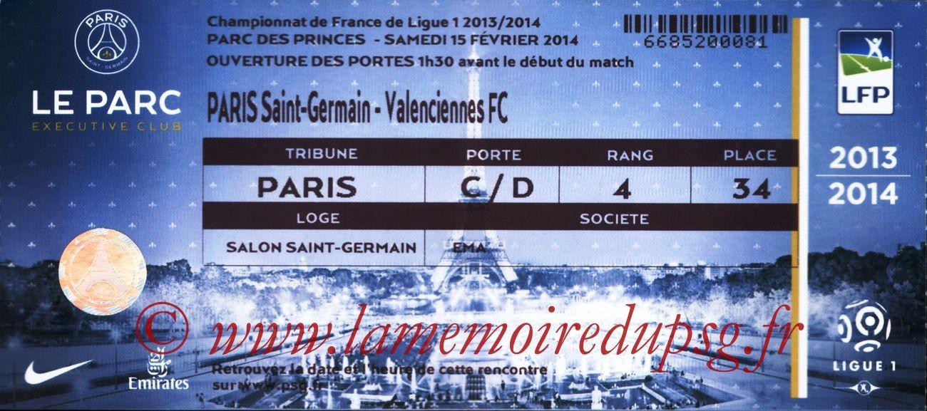 2014-02-14  PSG-Valenciennes (25ème L1, Loge)