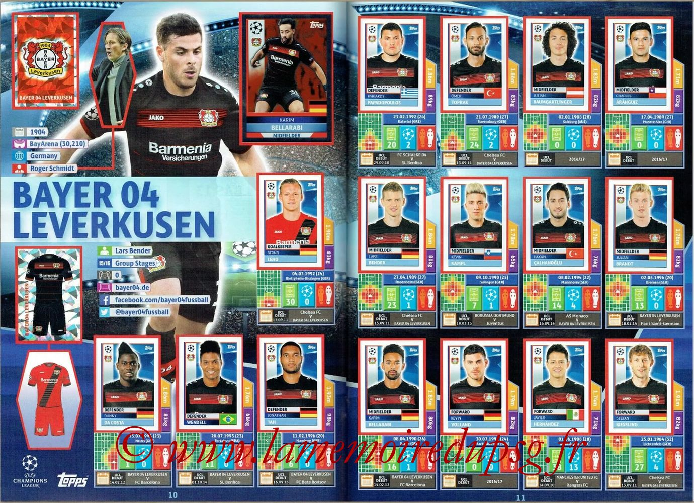 2016-17 - Topps UEFA Champions League Stickers - Pages 10 et 11 - Bayer 04 Leverkusen