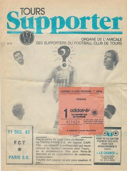 1982-12-11  Tours-PSG (19ème D1, Tours Supporter N°31)