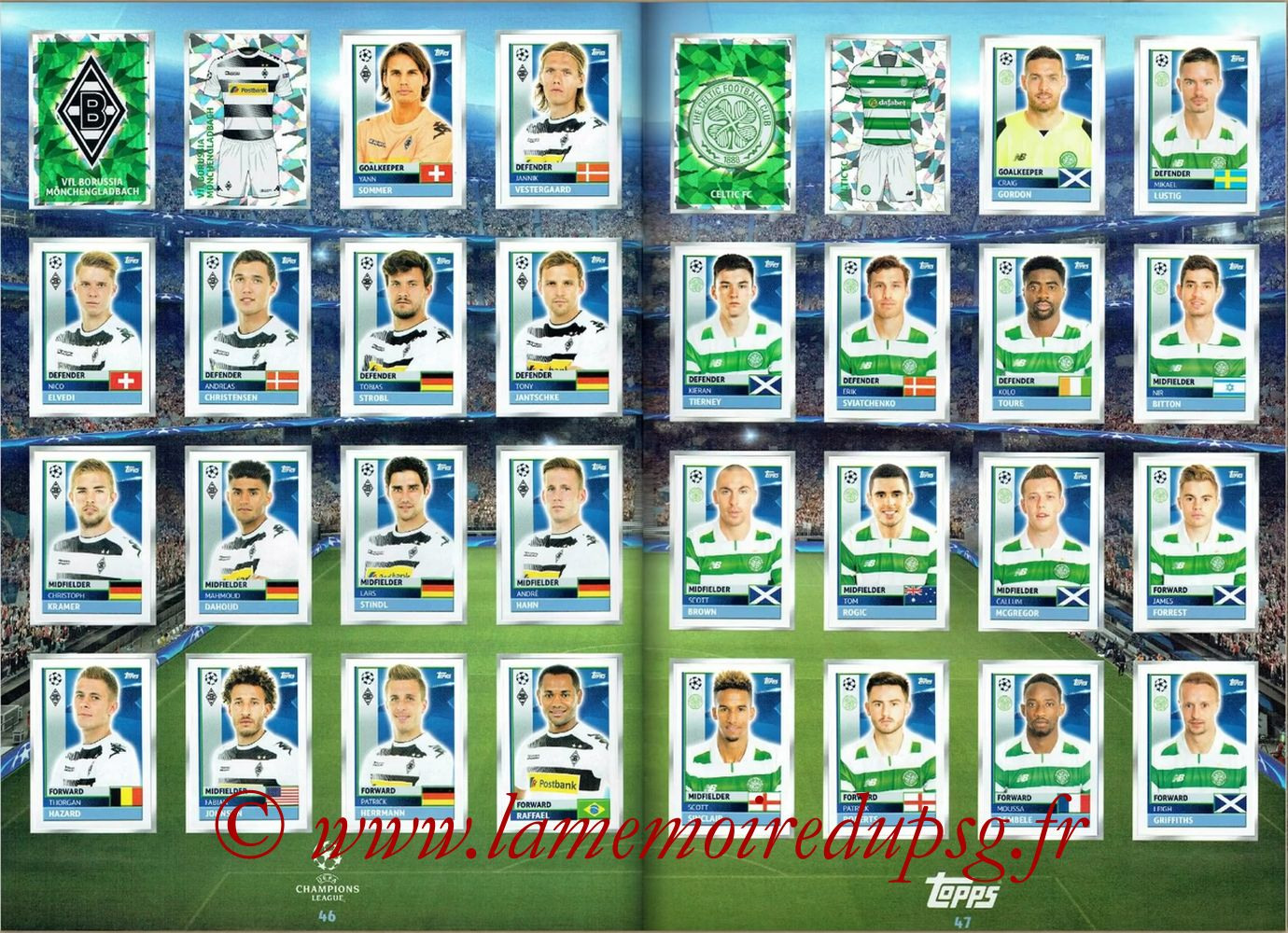 2016-17 - Topps UEFA Champions League Stickers - Pages 46 et 47 - VFL Borussia Monchengladbach + Celtic Fc