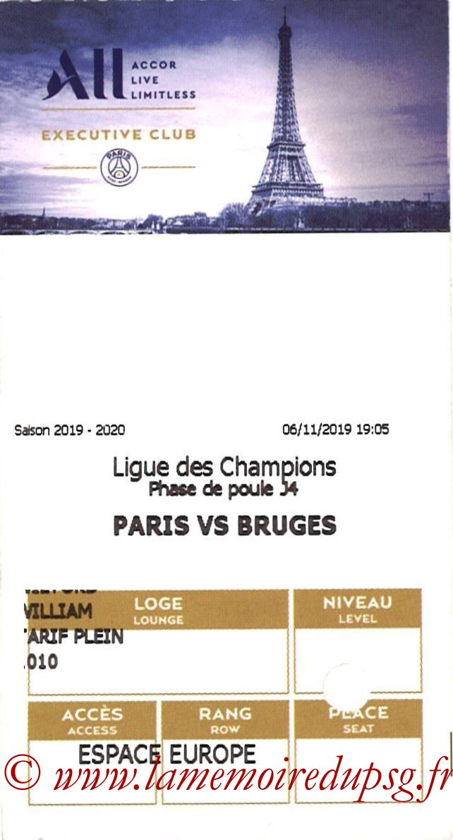 2019-11-06  PSG-Bruges (4ème L1, E-ticket Executive club)