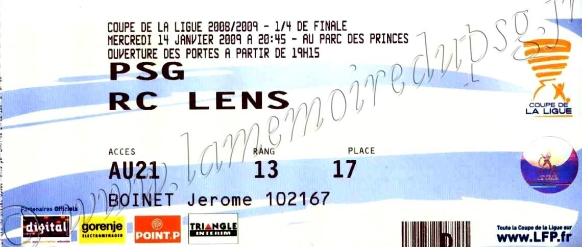 2009-01-14  PSG-Lens (Quart Finale CL)