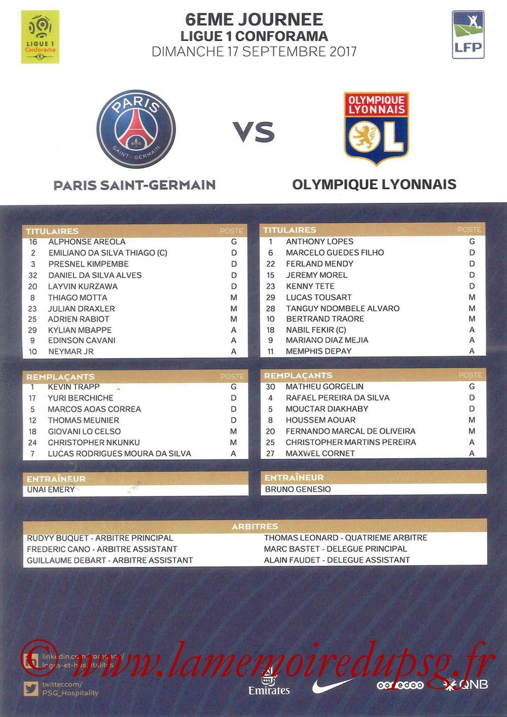 2017-09-17  PSG-Lyon (6ème L1, Feuille de match)