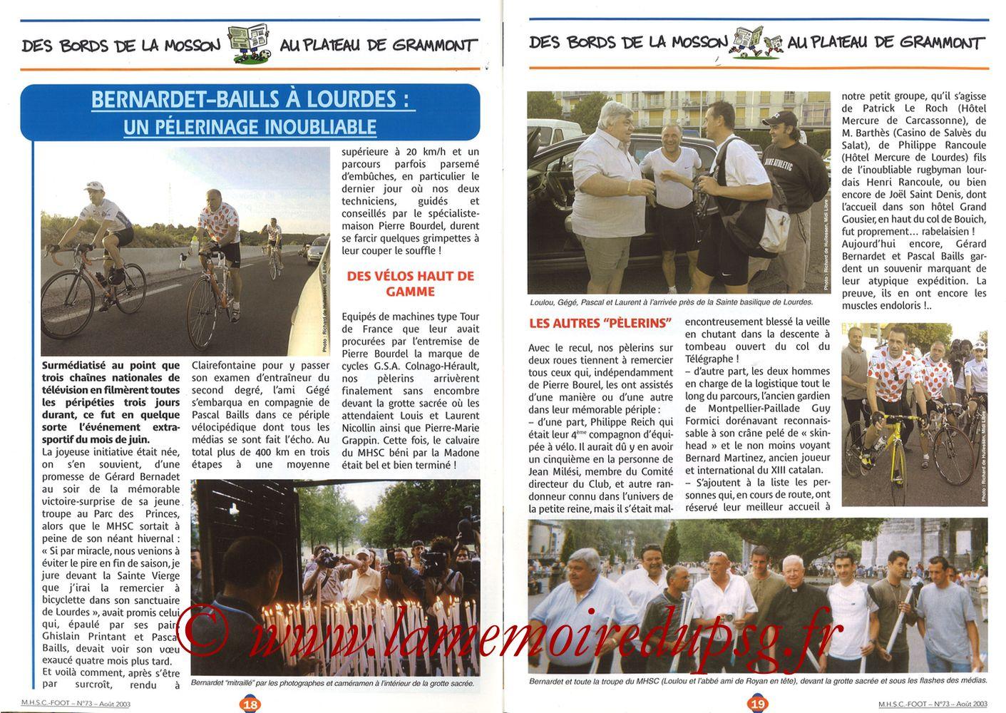 2003-08-30  Montpellier-PSG (5ème L1, MHSC Foot N°73) - Pages 18 et 19