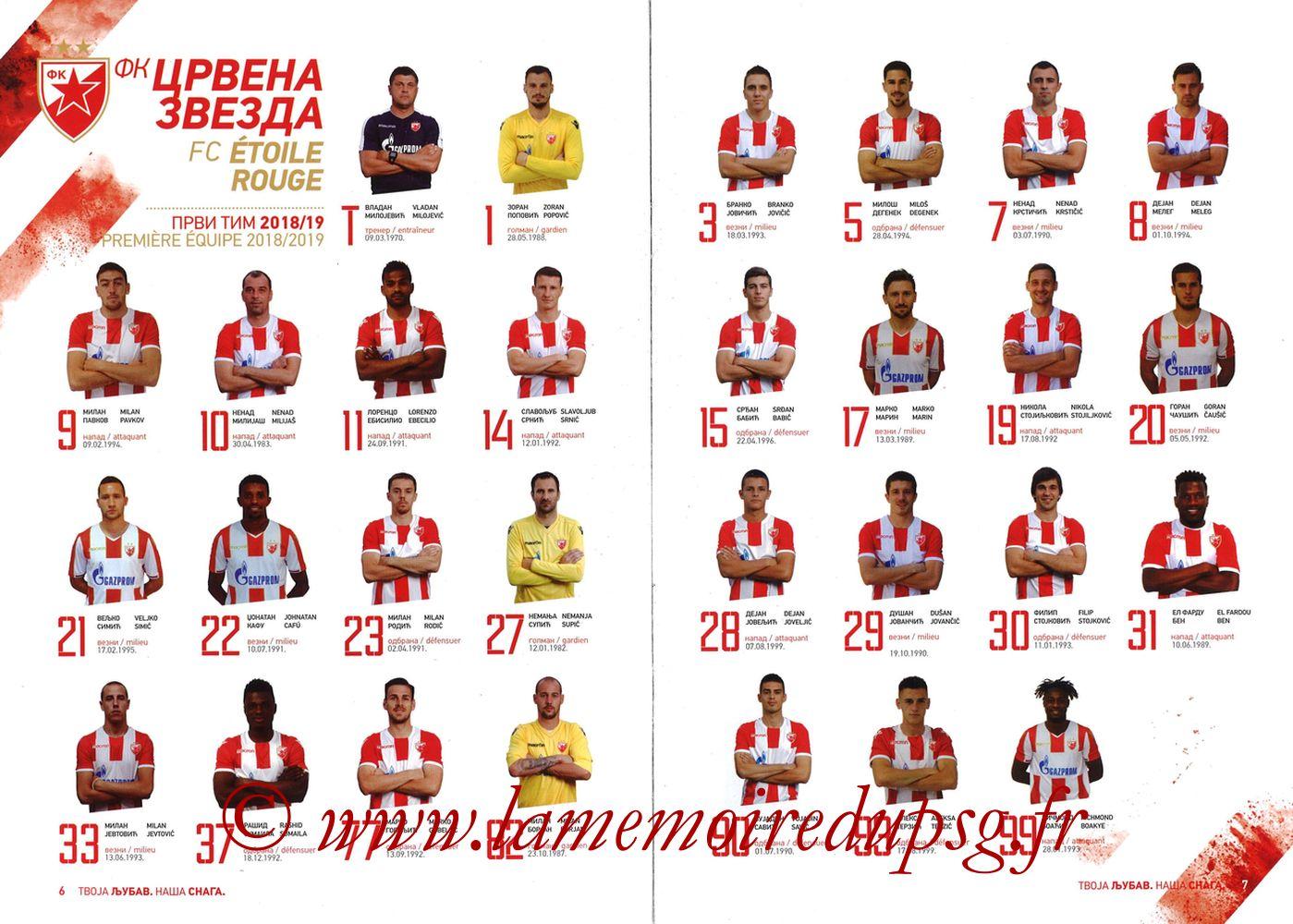 2018-12-11  Etoile Rouge de Belgrade-PSG (6ème C1, Programme officiel) - Pages 06 et 07