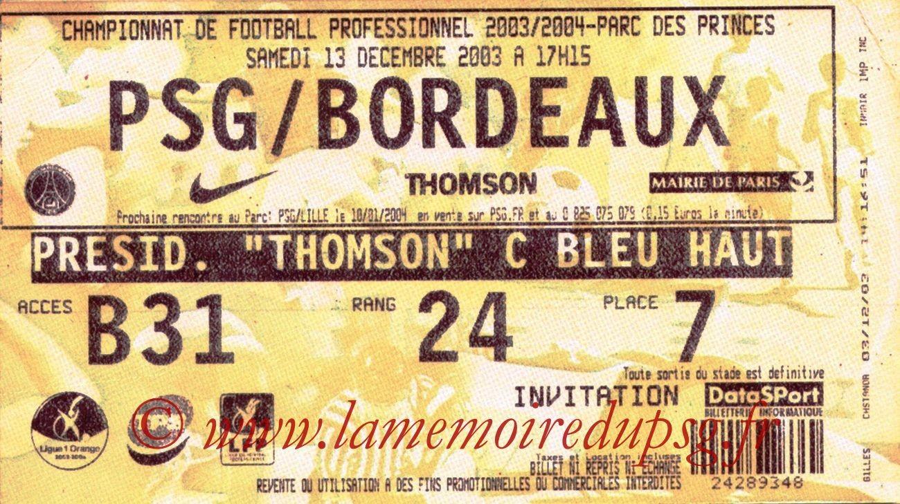 2003-12-13   PSG-Bordeaux (18ème L1, Bis)