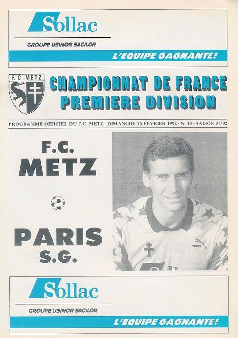1992-02-16  Metz-PSG (29ème D1, Programme officiel N°15)