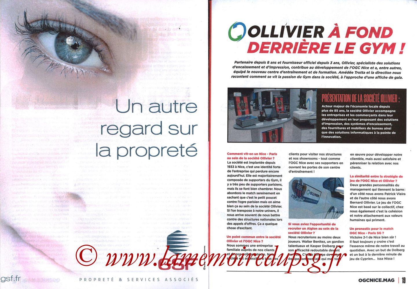 2019-10-18  Nice-PSG (10ème L1, OGCNice Mag N° 333) - Pages 18 et 19
