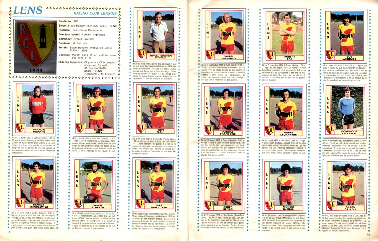 1979-80 - Panini 1980 - Pages 12 et 13 - RC Lens