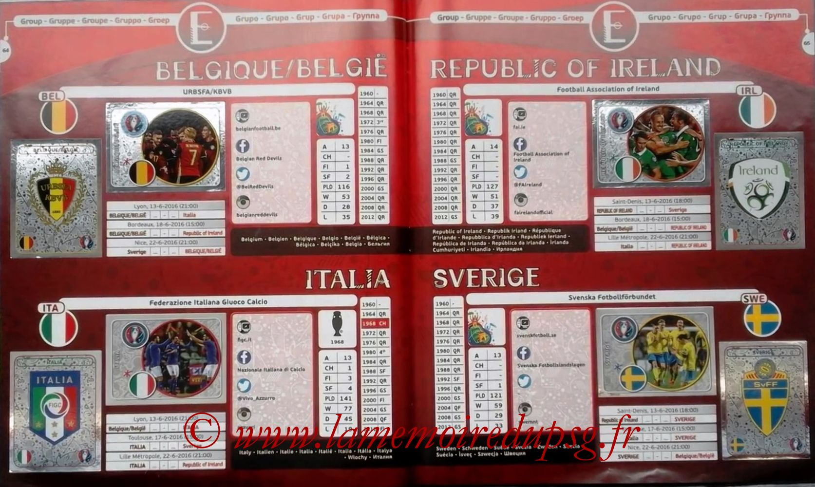 Panini Euro 2016 Stickers - Pages 64 et 65 - Groupe E