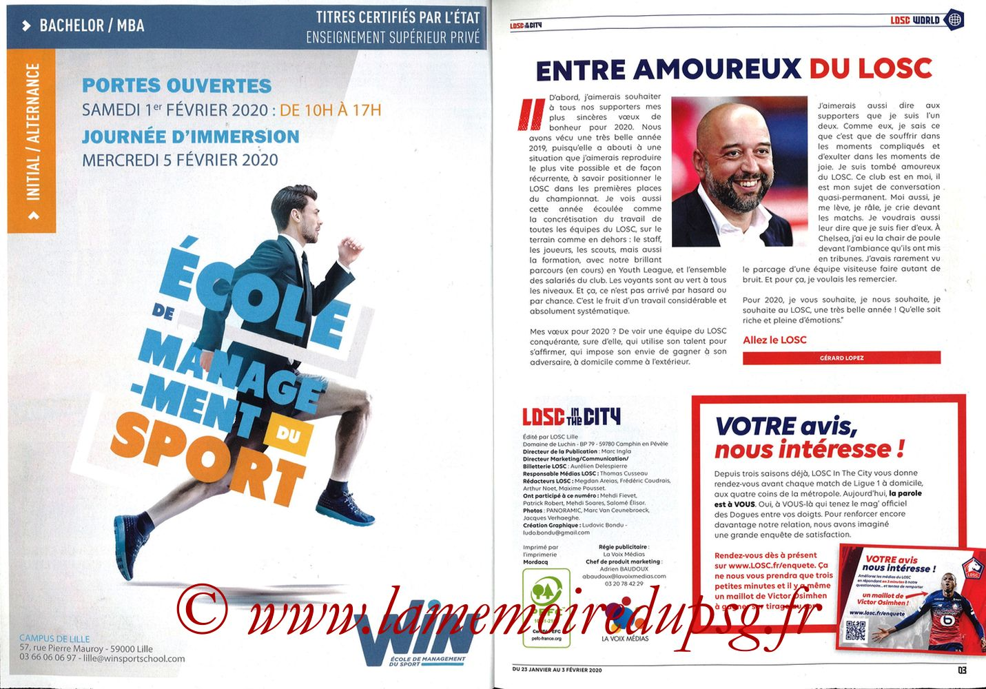 2020-01-25  Lille-PSG (21ème L1, Losc in the City N°41) - Pages 02 et 03