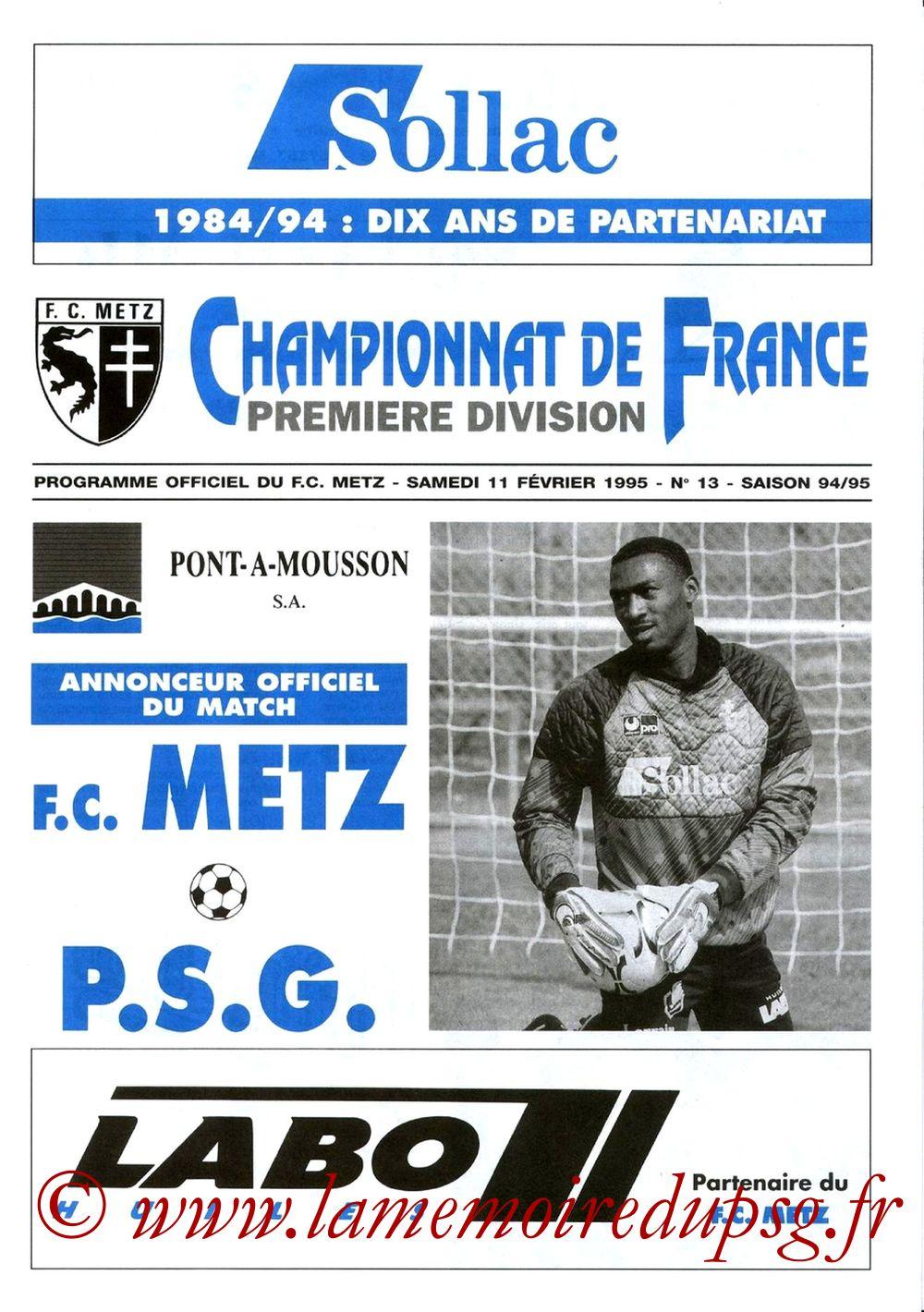 1995-02-11  Metz-PSG (26ème D1, Programme officiel N°13)