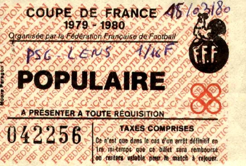 Ticket  Lens-PSG  1979-80