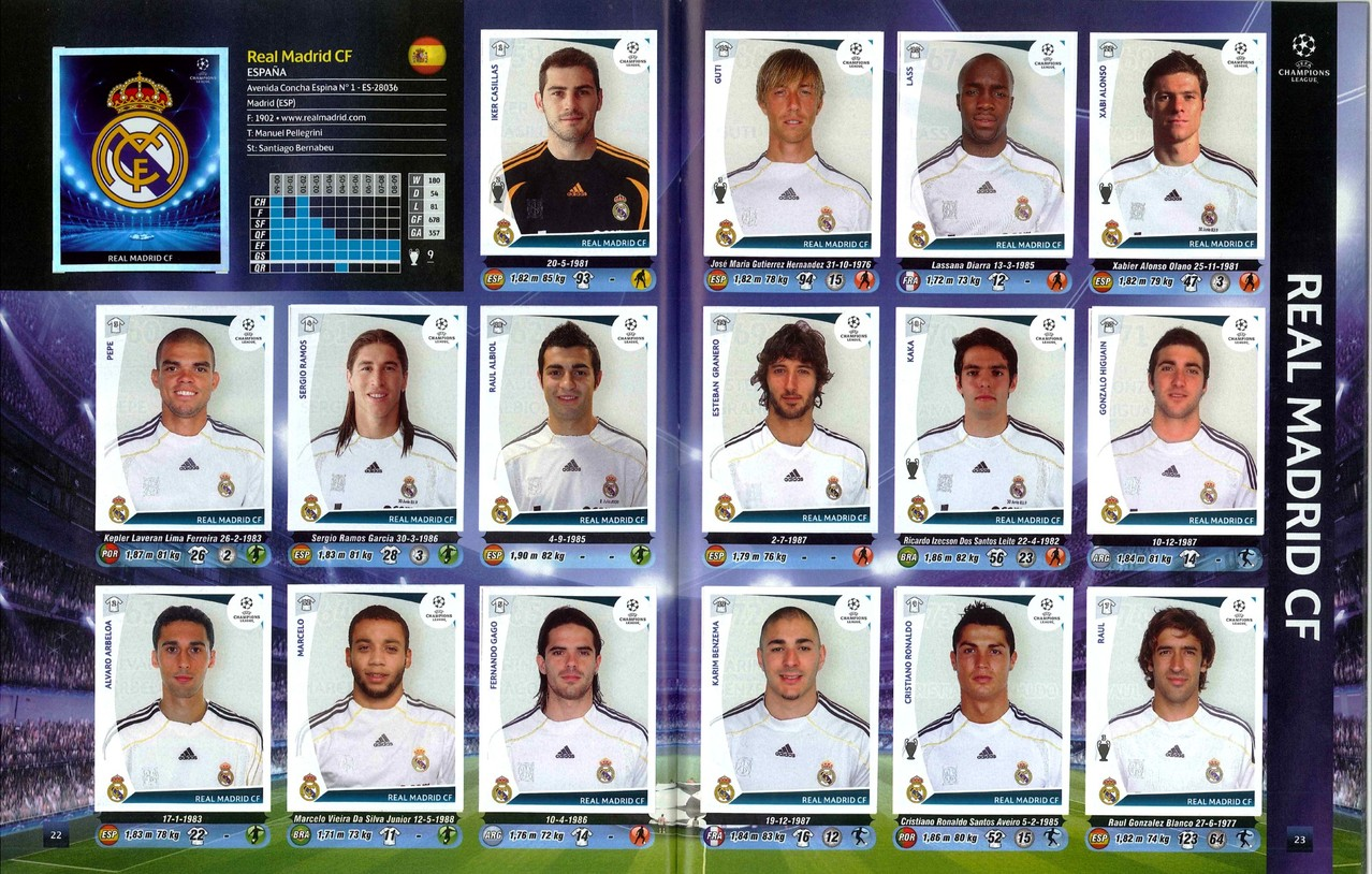 2009-10 - Panini Champions League - Pages 22 et 23 - Real Madrid CF