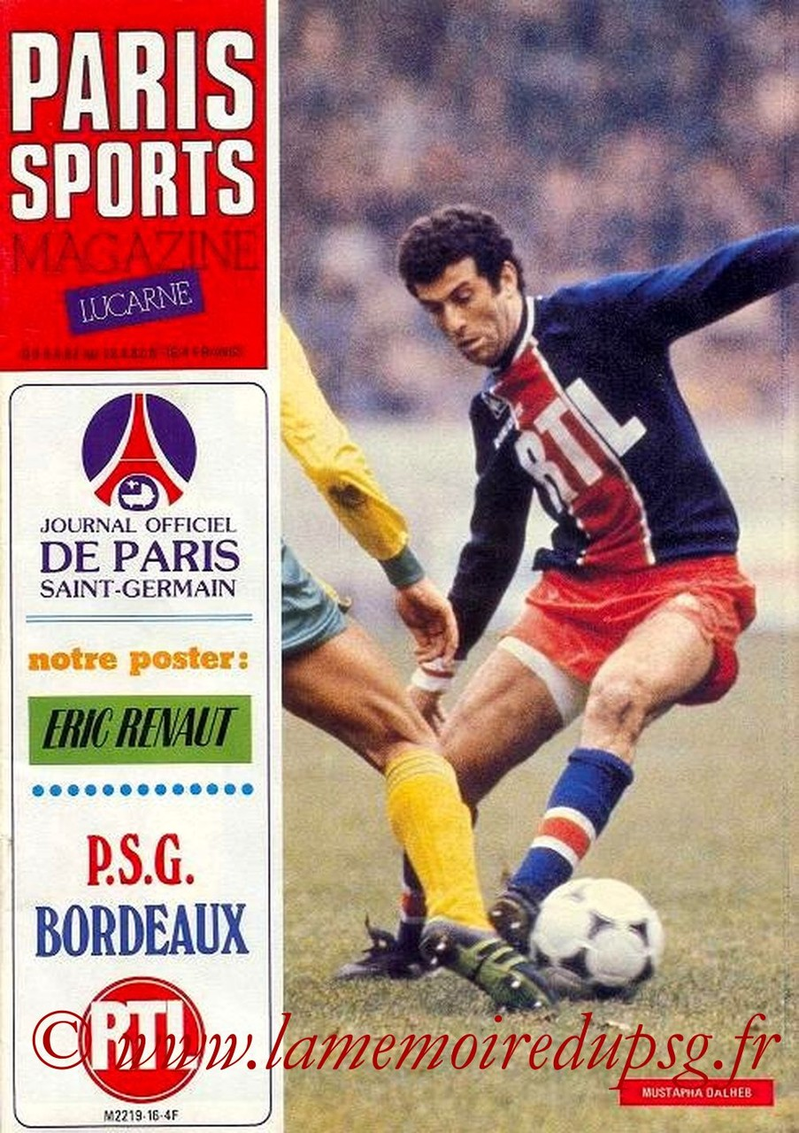 1982-04-09  PSG-Bordeaux (34ème D1, Paris Sports Magazine N°16)