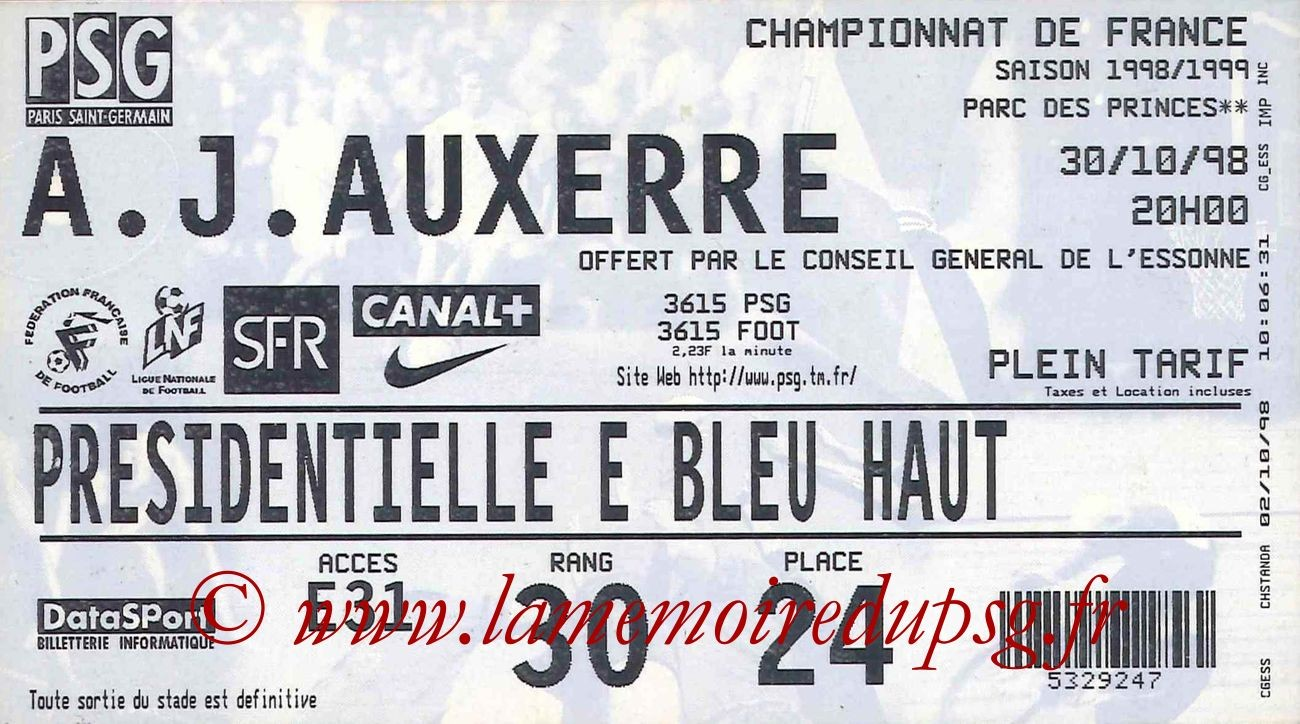 1998-10-30  PSG-Auxerre (11ème D1)
