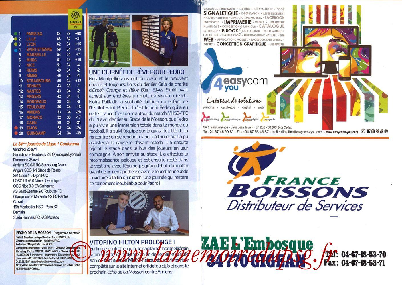 2019-04-30  Montpellier-PSG (34ème L1, L'Echo de la Mosson N°17) - Pages 12 et 13
