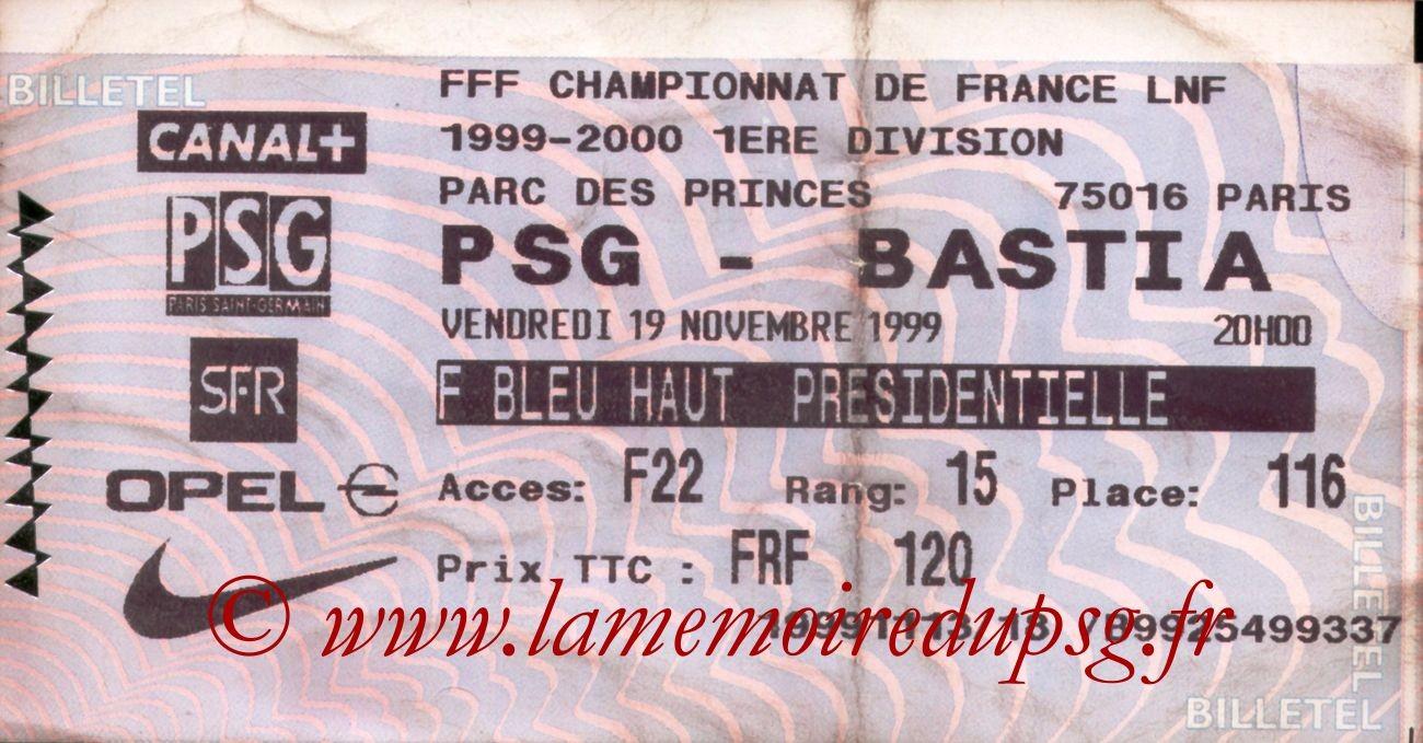 1999-11-19  PSG-Bastia (16ème D1, Billetel)