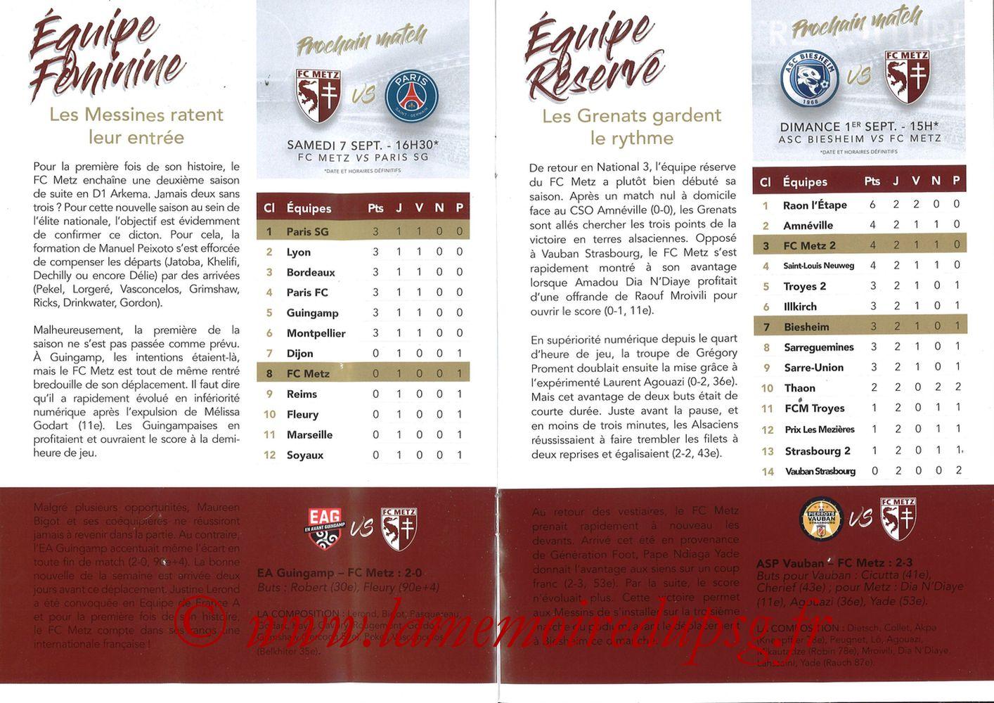 2019-08-30  Metz-PSG (4ème L1, La Gazette de Saint-Symph') - Pages 12 et 13