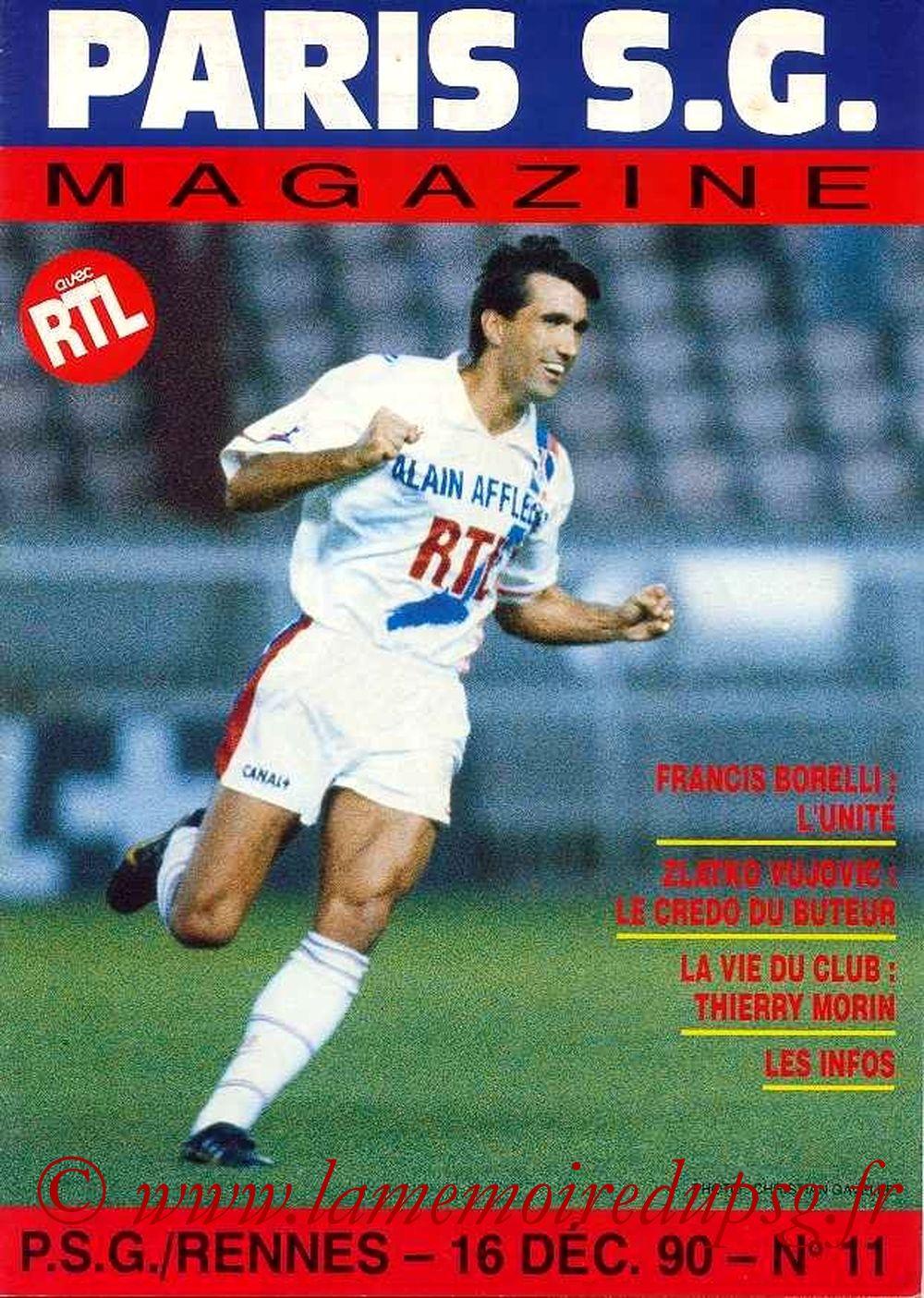 1990-12-16  PSG-Rennes (20ème D1, Paris SG Magazine N°11)