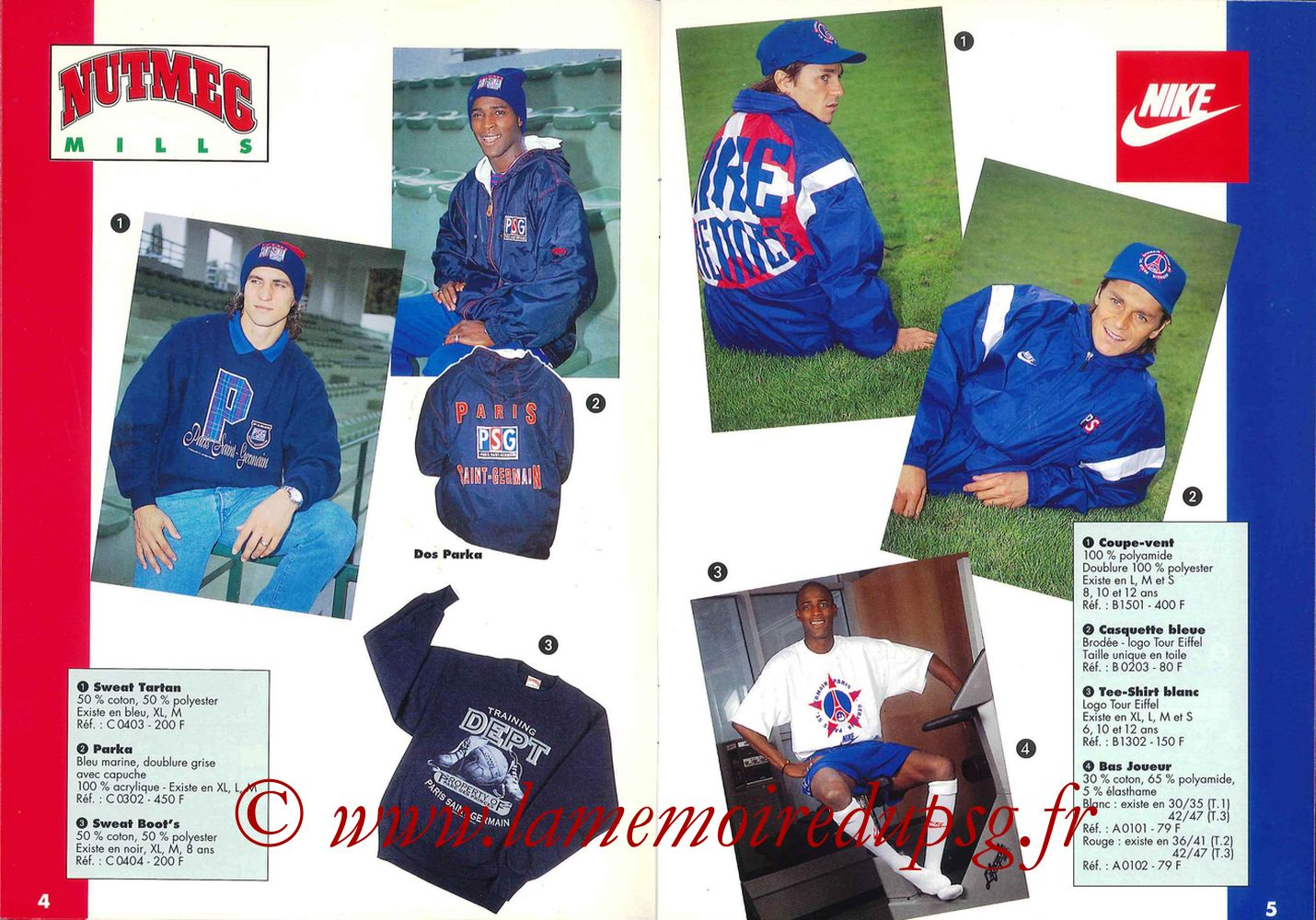 Catalogue PSG - 1994-95 - Pages 04 et 05