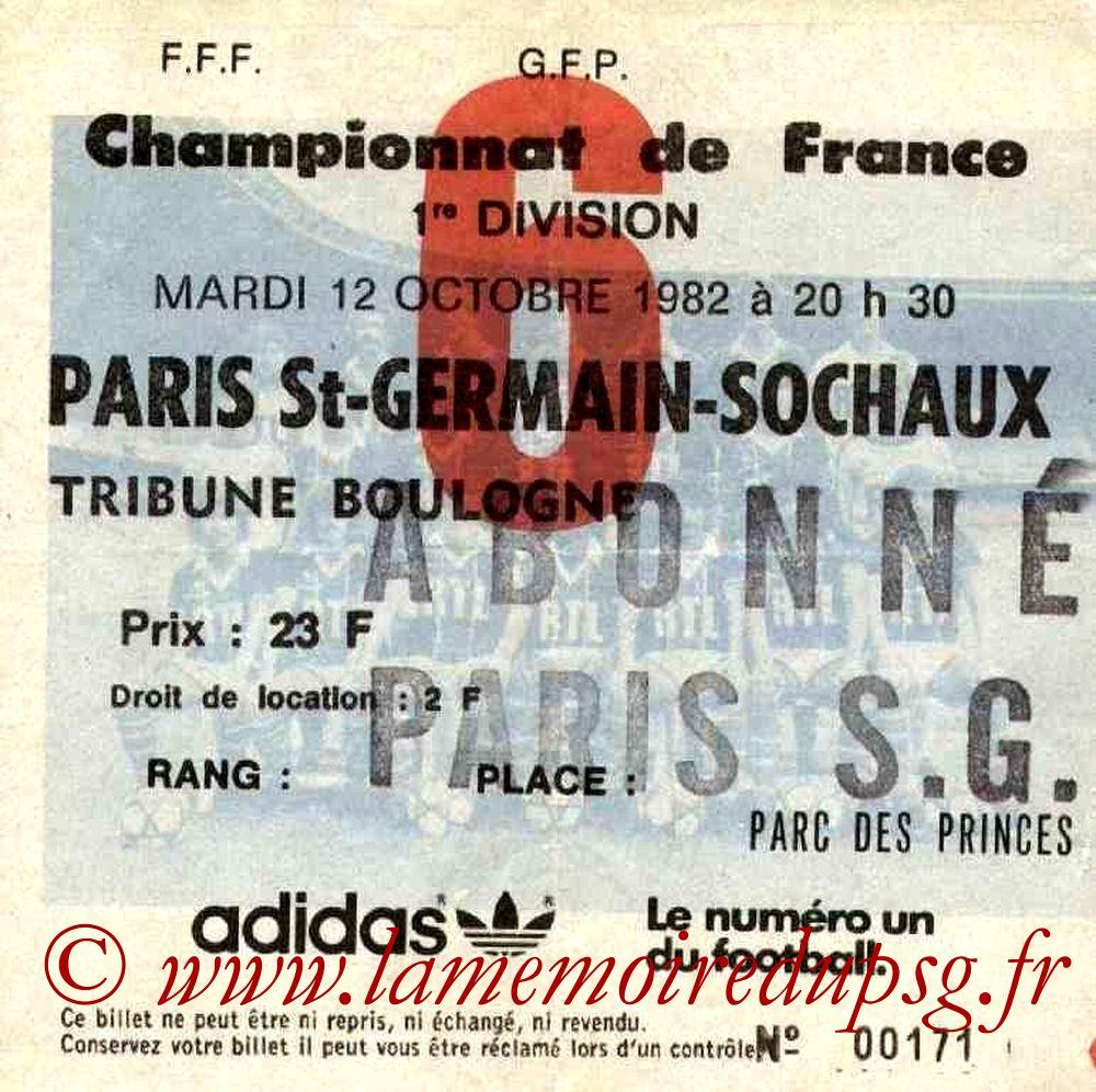1982-10-12  PSG-Sochaux (10ème D1, Ticket N°6)