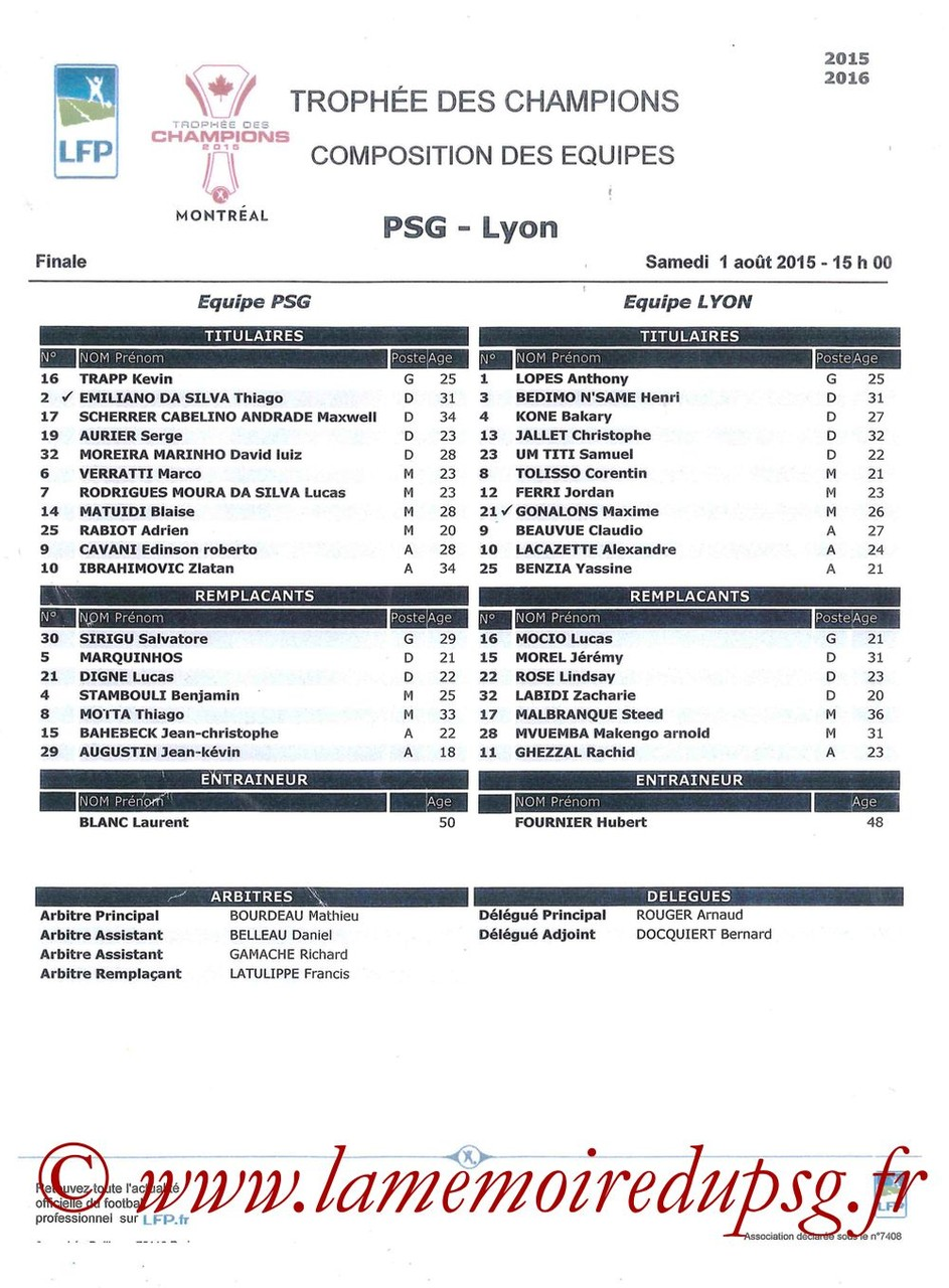 2015-08-01  PSG-Lyon (Trophée des champions à Montréal, Feuille de match)