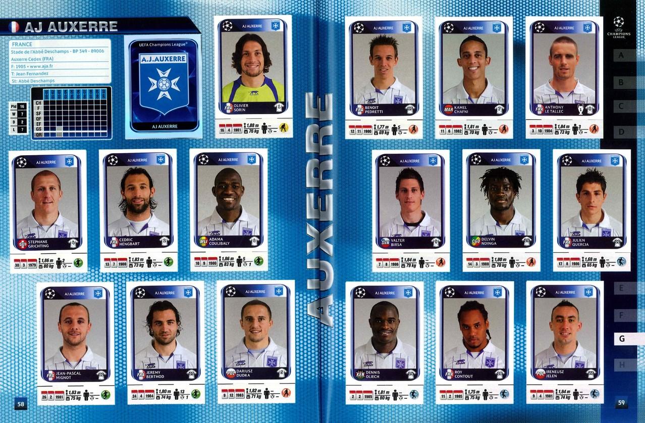 2010-11 - Panini Champions League - Pages 58 et 59 - AJ Auxerre