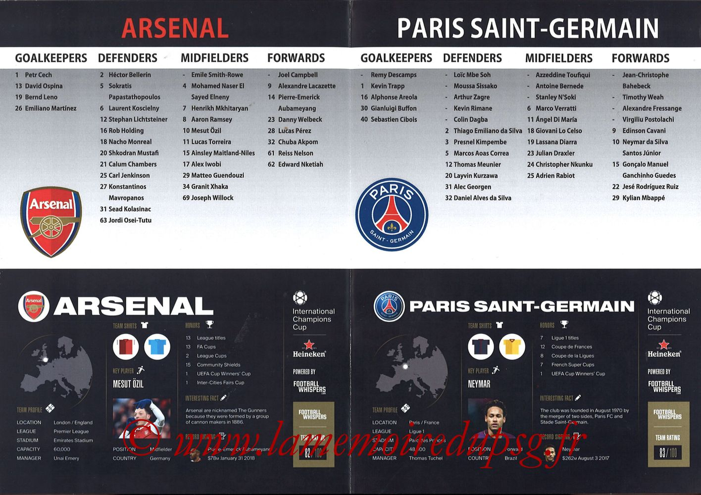 2018-07-28  Arsenal-PSG (International Champions Cup à Singapour, Programme pirate) - Pages 02 et 03
