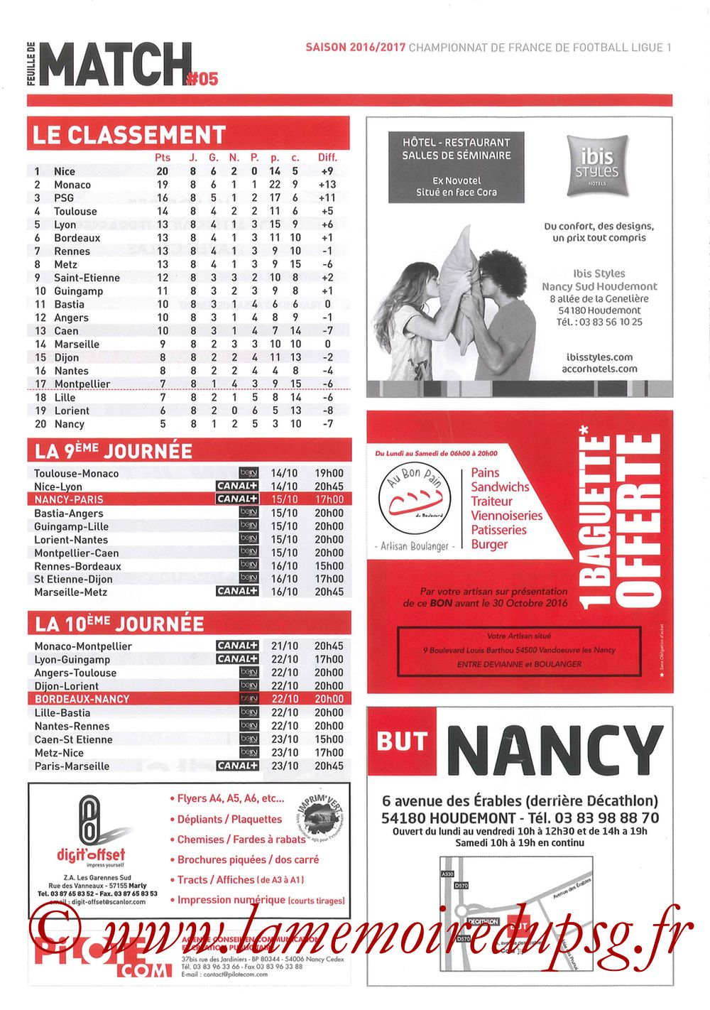 2016-10-15  Nancy-PSG (9ème L1, Feuille de match N°5) - Pages 8