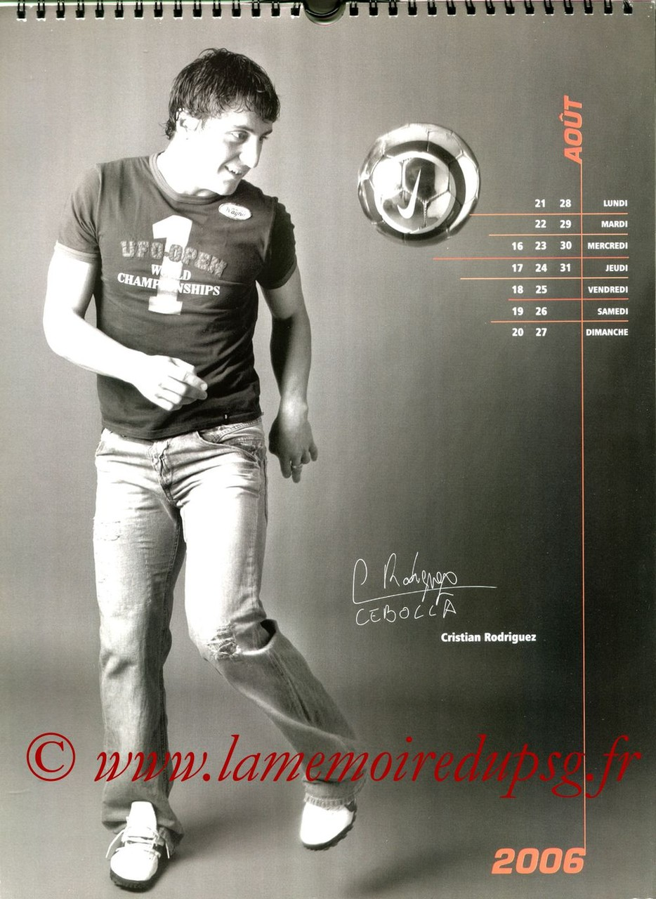 Calendrier PSG 2006 - Page 16 - Cristian RODRIGUEZ