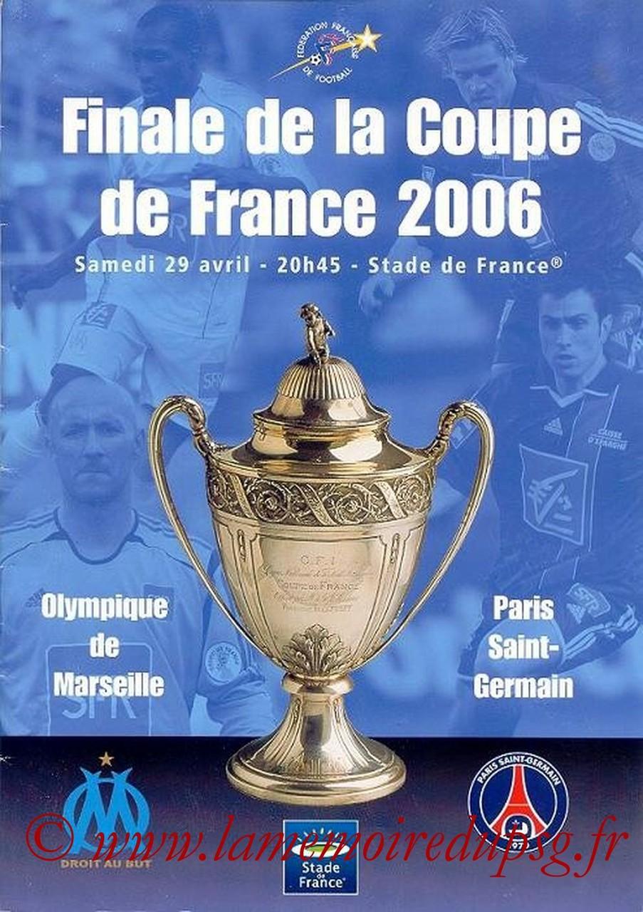 2006-04-29  PSG-Marseille (Finale CF au Stade de France, Programme officiel)