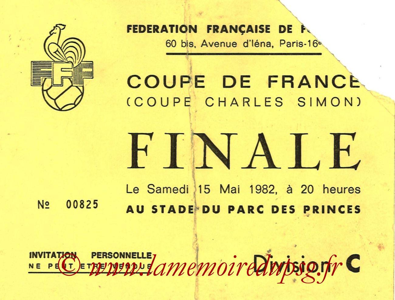 1982-05-15  PSG-Saint Etienne (Finale CF au Parc des Princes, Invitation)