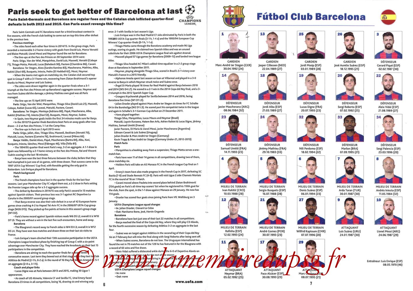 2017-02-14  PSG-Barcelone (8ème C1 aller, Programme pirate) - Pages 06 et 07