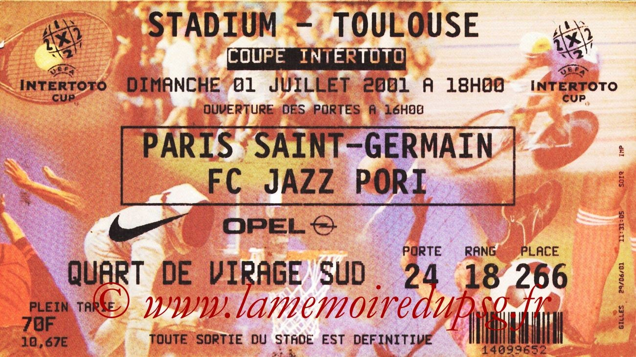 2001-07-01  PSG-FC Jazz Pori (2ème Tour Aller Intertoto)