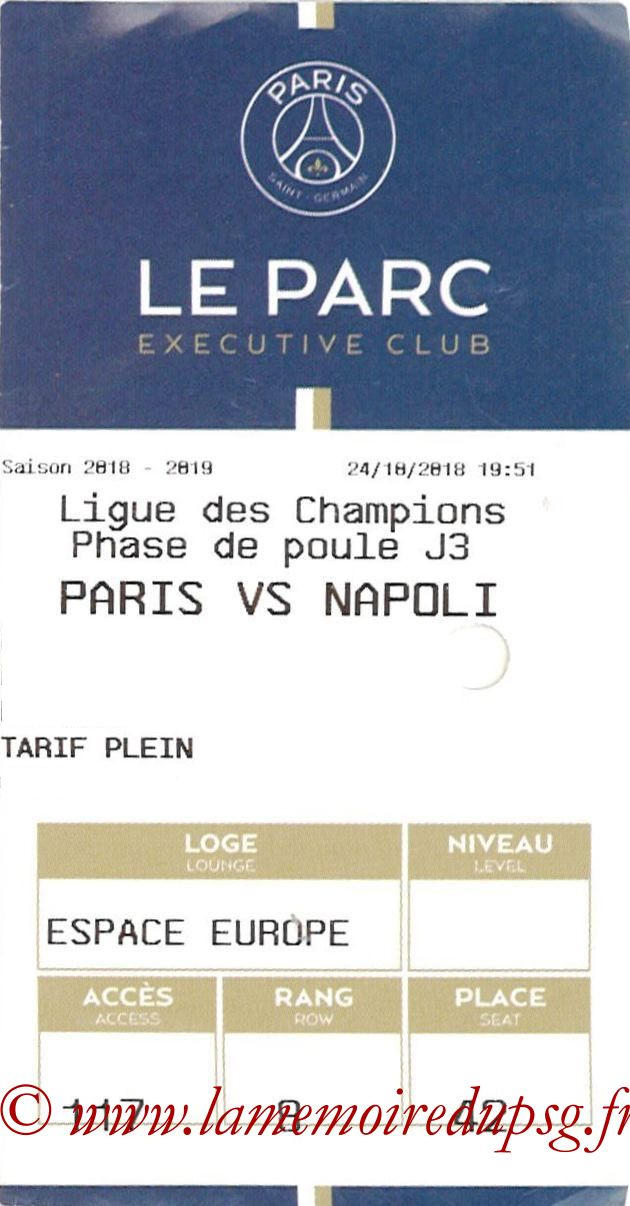 2018-10-24  PSG-Naples (3ème C1, E-ticket Executive club 2)