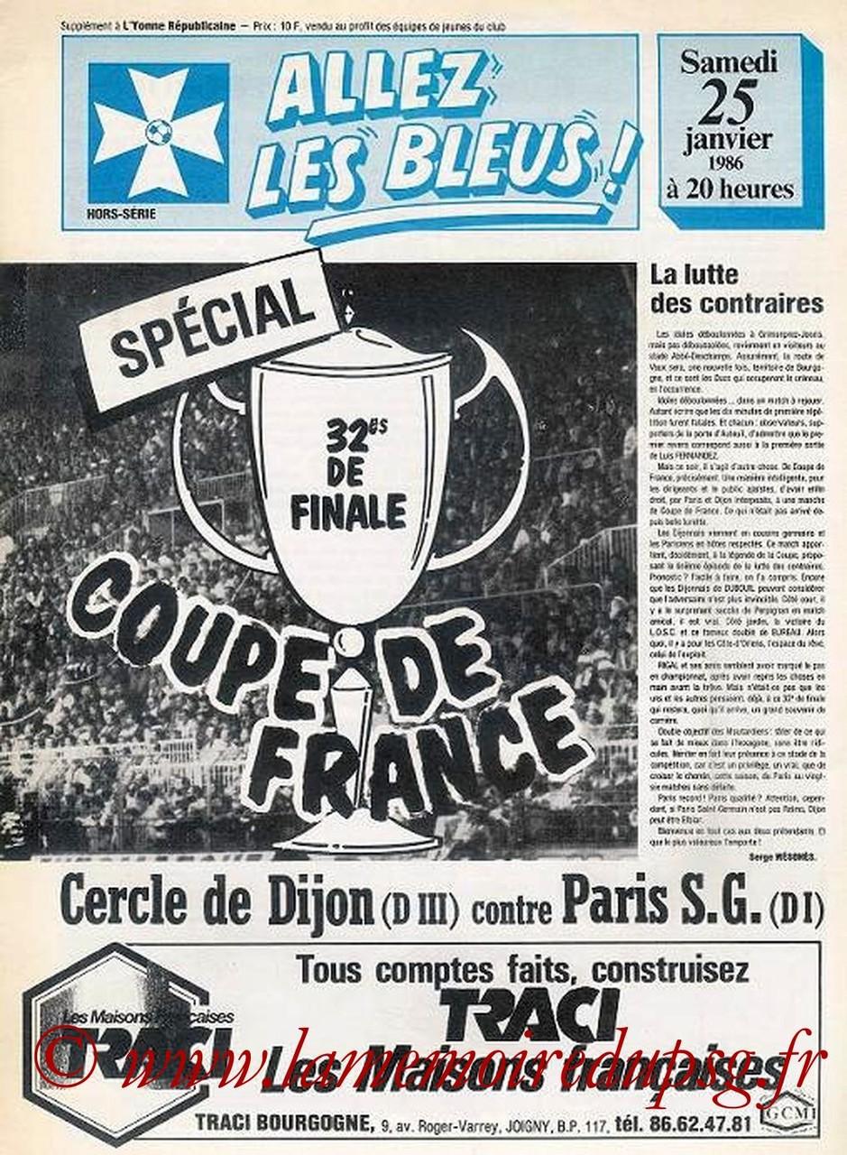1986-01-25  Dijon-PSG (32ème Finale CF à Auxerre, Allez les Bleus HS)