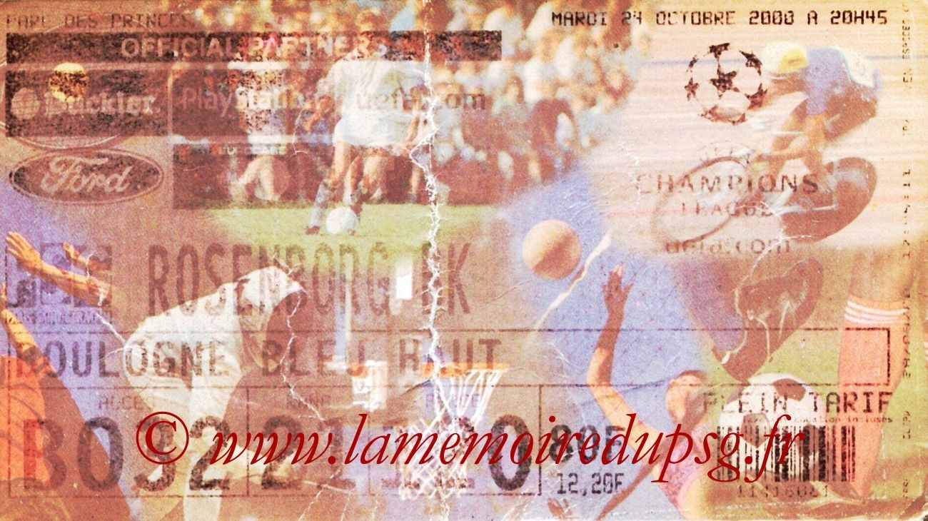 Tickets  PSG-Rosenborg  2000-01