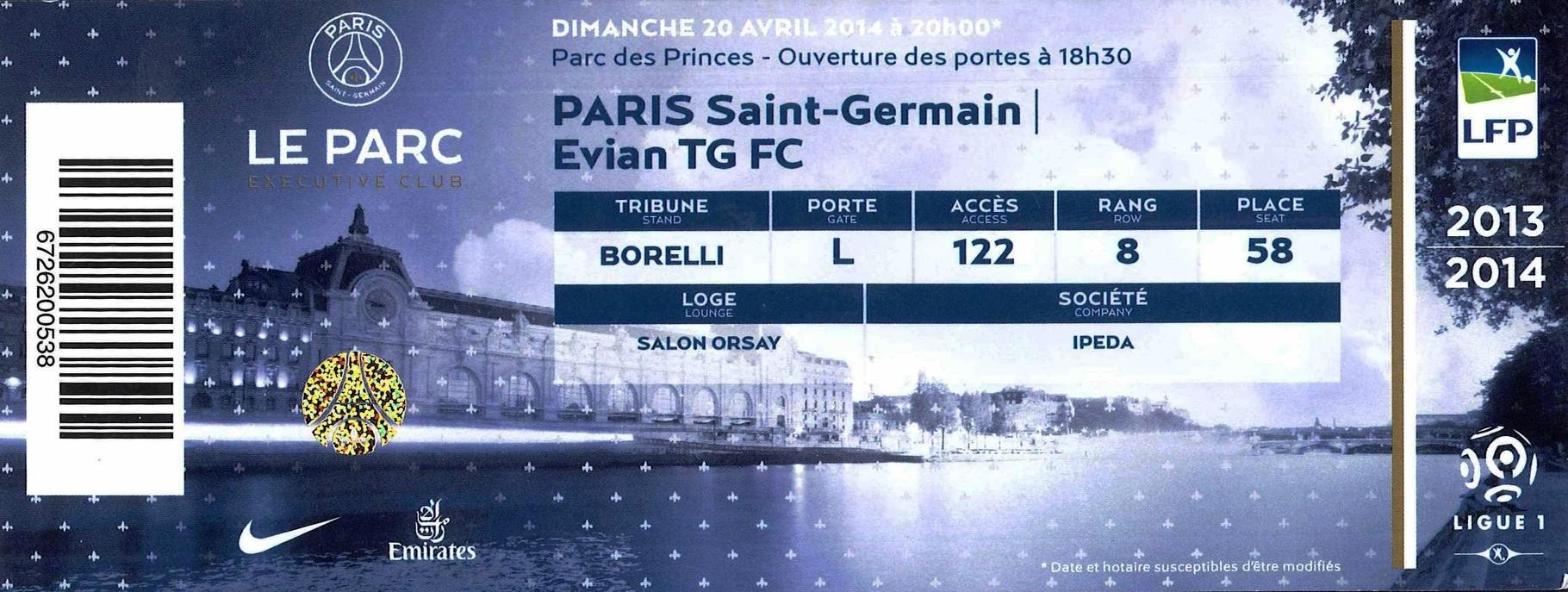 2014-04-23  PSG-Evian TG (34ème L1, Loge 2)