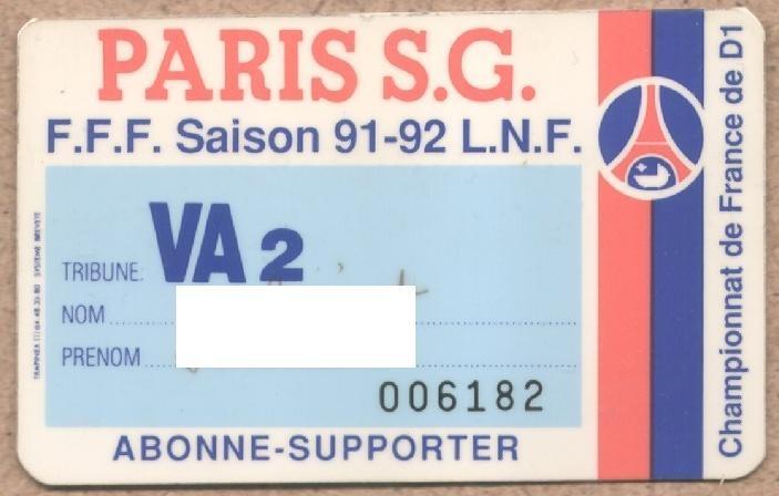 Carte d'abonné PSG 1991-92