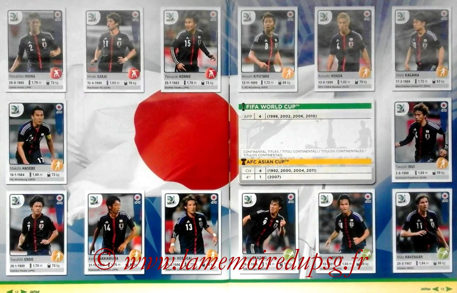 2013 - Panini Confederations Cup Brasil Stickers - Pages 12 et 13 - Japon