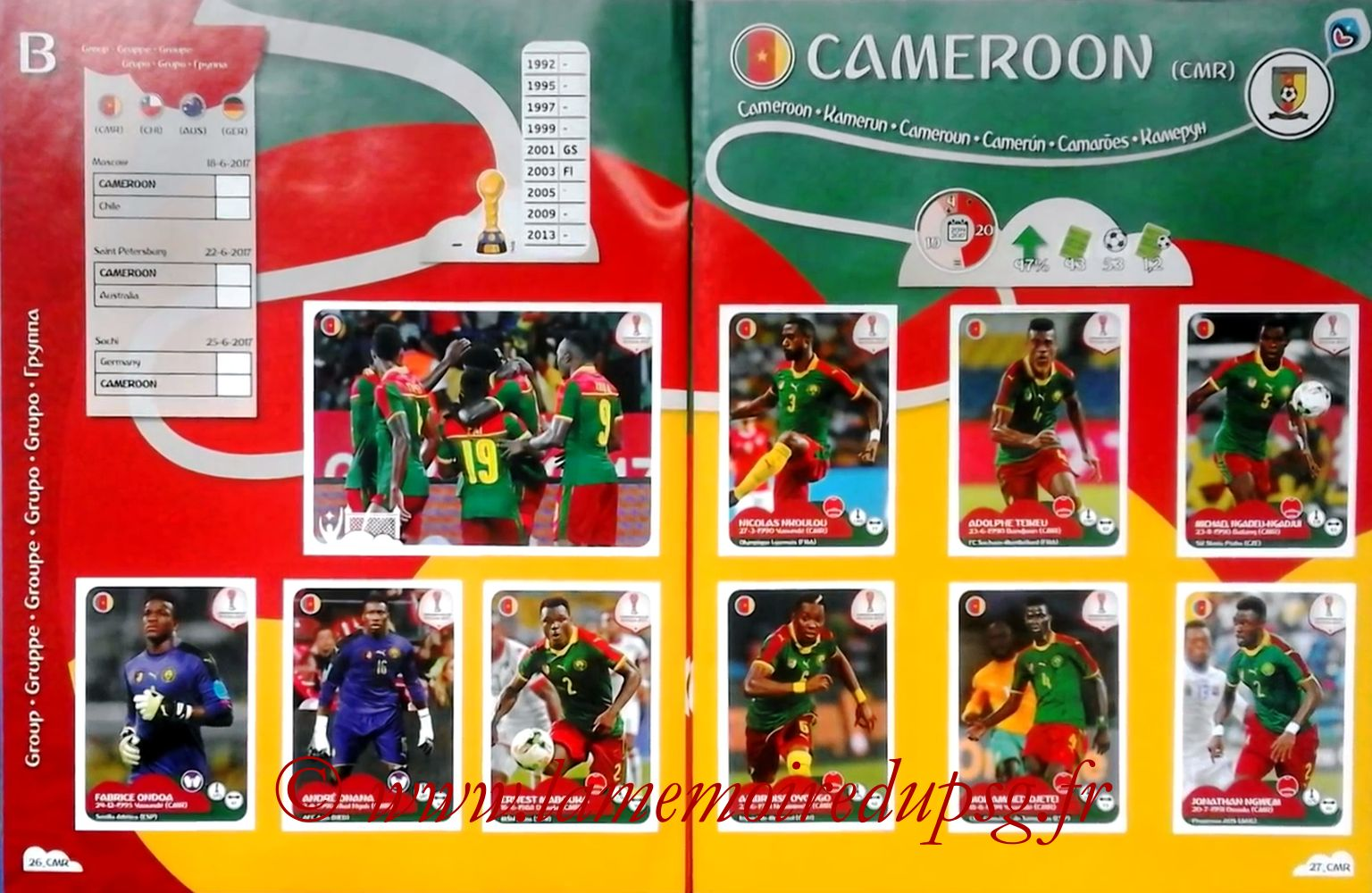 2017 - Panini Confederations Cup Russia Stickers - Pages 26 et 27 - Cameroun