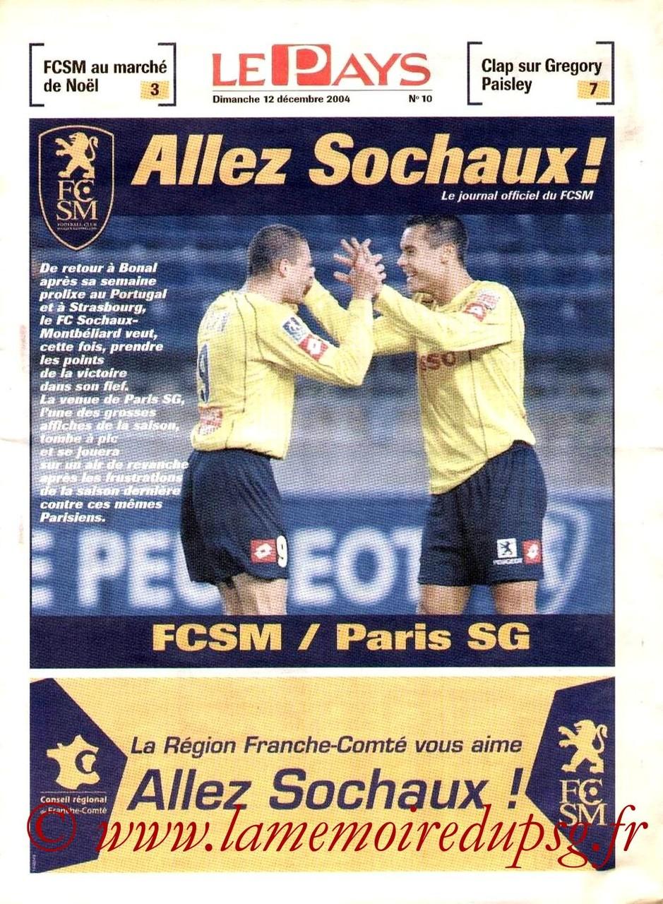 2004-12-11  Sochaux-PSG  (18ème L1, Allez Sochaux N°10)2