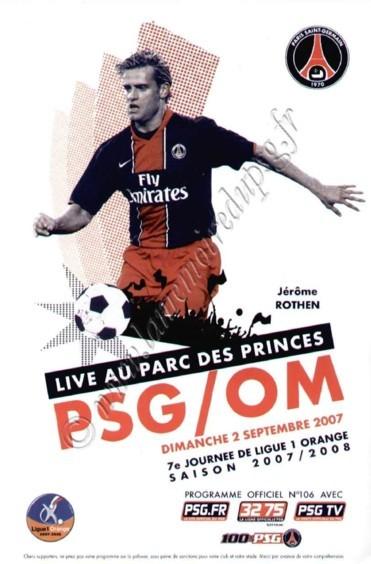 2007-09-02  PSG-Marseille (7ème L1, Officiel PSG N°106)